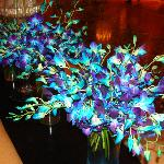 the beautifull flowers arrangments in the lobby .