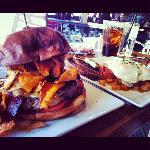 Brickhouse burger and corned beef hash
