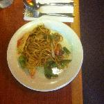 Hibachi Grill dish-noodles, teryaki sauce, my choices of meat and veggies