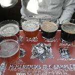 The hotel upstairs pub beer sampler