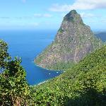 The Petit Piton from one of the 3 viewpoints at Tet Paul.