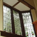 Stained glass bay window.