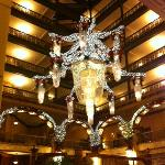 Chandelier in lobby decorated for the Holidays