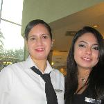 Gladys (waitress) & Carolina (receptionist) at breakfast