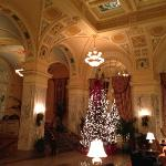 lobby beautifully decorated for Christmas