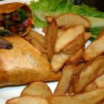 Veggie wrap and chips.