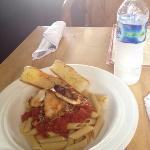 penne pasta with chicken. also very very good