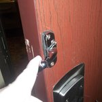 Broken Room Lock- If someone wanted in, they didn't have to kick very hard at all.
