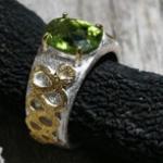 peridot, gold & silver ring