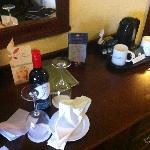 Bottle of wine we ordered before our arrival and the tea and coffee making facilities