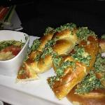 Herb crusted soft pretzels with blonde ale cheese fondue