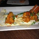 Crispy Buffalo Shrimp in a Blue Cheese pond