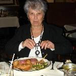 my mother enjoying her meal