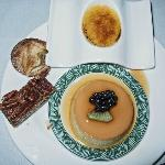Desserts including flan and creme caramel