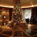 the hotel lobby decked out for Christmas
