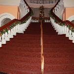 View of the stairs in the hotel lobby