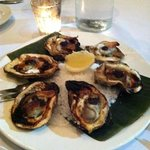 Roasted oysters with bacon and caviar
