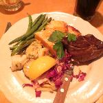 Sirloin tip and scallops with fennel butter