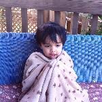 Grandson Abhay feeling the November chill at Lake Canyon