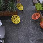Colourful courtyard chairs