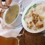 Our soups: split pea and creamy potato with Vienna sausages and croutons