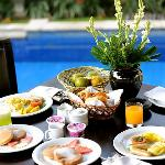 The breakfast within the private garden.