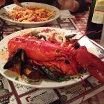 Lobster Pescatore: a full lobster, crabmeat, shrimp, clams, muscles, and calamari all over pasta