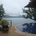 Aussicht vom kleinen Pool bei der Réception auf Mahé
