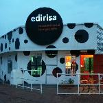 The Home of Edirisa facade - the museum founder's face hidden in the dots on the right