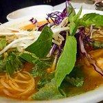 Bun rieu soup with crab meat and shrimp