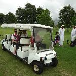 Getting a ride to 10th tee...could walk also...
