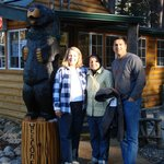 A pic of guests with Linda and Boogaloo the Bear