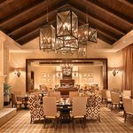 A look at the Apex main dining room featuring fireplaces in each room and warmly elegant decor.
