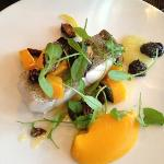 plat1: nicely cooked rare haddock with squash and yuzu sauce.  little bland but decent.