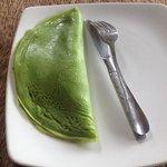 green pancakes for breakfast - good!!
