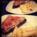 the spinach pie with tzaziki and amazing homemade chips