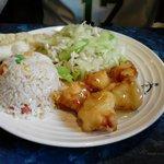 Chicken chow mein, fried rice, and lemon chicken