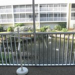 screened in lanai with fountain view