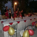 Patio prepared for birthday dinner