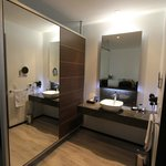 lavatory sink and large mirror