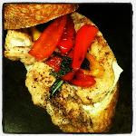 Grilled Chicken Breast, grilled peppers, mozza, fresh basil on fresh bread