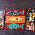 Outdoor art decoration at Mateus Bistro
