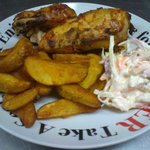 1/2 Texas BBQ Roast Chicken with Spicy Wedges and Coleslaw