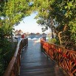 Bridge to beach and pool