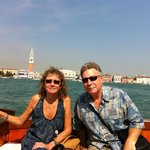 Enjoying the boat ride from Hotel Cipriani