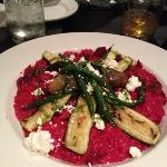 Vegetarian beat Rizzetto with goats cheese asparagus and squash. Look at that beautiful bourbon