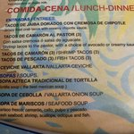 Restaurant lunch menu
