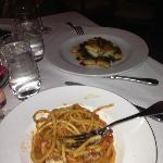 An excellent pasta dish; monk fish in the background.