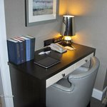 The writing desk with the hotel-provided ipad.