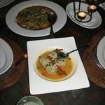 Tuna Carpacio, Dumplings (top to bottom)
